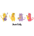 jazz band of cats playing musical instruments vector image