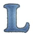 Jeans alphabet Denim letter L vector image vector image