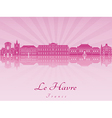 Le Havre skyline in purple radiant orchid vector image vector image