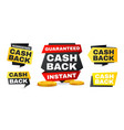 money cash back labels and stickers set vector image