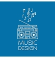 Music design with magnetic cassette player vector image vector image