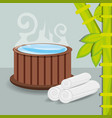 natural hot water with towel and bamboo vector image