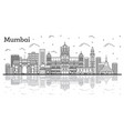 outline mumbai india city skyline with historic vector image vector image