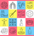 portugal icons set in thin line style vector image vector image