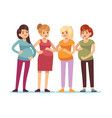 pregnant women group future mothers anticipation vector image vector image