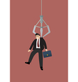 Robotic claw clutching a businessman vector image