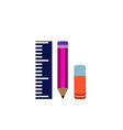 ruler pencil and eraser on a white background vector image vector image