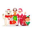 santa claus elf deer mouse and polar bear vector image vector image