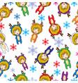 seamless pattern cartoon merry christmas girl vector image vector image
