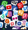 seamless pattern social media icons vector image