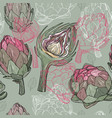 seamless pattern with hand drawn artichoke vector image vector image
