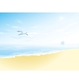 Seascape with sea surfacecloudy sky seagull vector image vector image