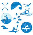 Set of different logotype templates for kayaking vector image