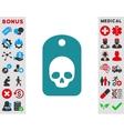 Skull Label Icon vector image