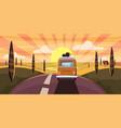 sunset van camper bus on road goes to sea vector image vector image