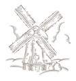 vintage windmill logo bakery design template vector image