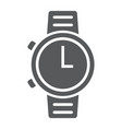 watch glyph icon clock and time starp sign vector image vector image