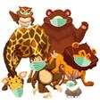 wild animal cartoon character wearing mask vector image vector image