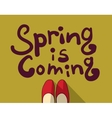 Spring coming green sign card vector image