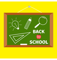 Back to school Board with magnifer pencil bulb vector image vector image