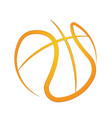 basketball outline orange symbol background vector image vector image