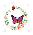 butterfly and flower ring background image vector image