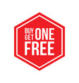 buy one get one free sign hexagon vector image vector image