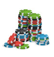 casino chips stacks isolated realistic vector image vector image
