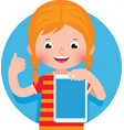 cheerful cute little girl holding a computer vector image vector image