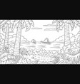 coloring book tropical landscape vector image