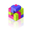 colour isometric cube with reflection on the vector image