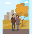 couple walking in autumn city park together vector image vector image
