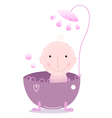 Cute beautiful baby under Shower isolated on white vector image vector image