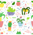 cute seamless pattern with house plants vector image vector image