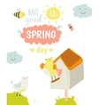 Cute summer card with character vector image