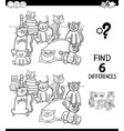 differences color book with cats animal characters vector image vector image