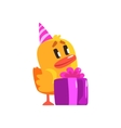 Duckling With Birthday Present Cute Character vector image vector image