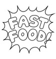 fast food word comic book coloring vector image vector image