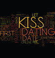 first date kiss text background word cloud concept vector image vector image