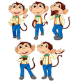 Five monkeys wearing blue jeans vector image vector image