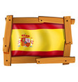 flag of spain on wooden frame vector image vector image