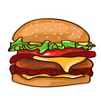 flat colorful burger concept vector image vector image