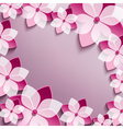 Floral festive frame with pink 3d flowers sakura vector image vector image