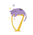 funny cat playing the harp vector image vector image