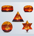 geometric shapes set of luminous rubies vector image vector image