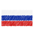hand drawn national flag of russia isolated on a vector image vector image
