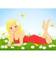 Happy girl in flower meadow vector image vector image