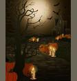 happy halloween card stone road and pumpkin vector image vector image