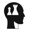 head with queen and pawn chess icon simple style vector image vector image
