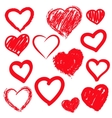 hearts set Hand drawn vector image vector image